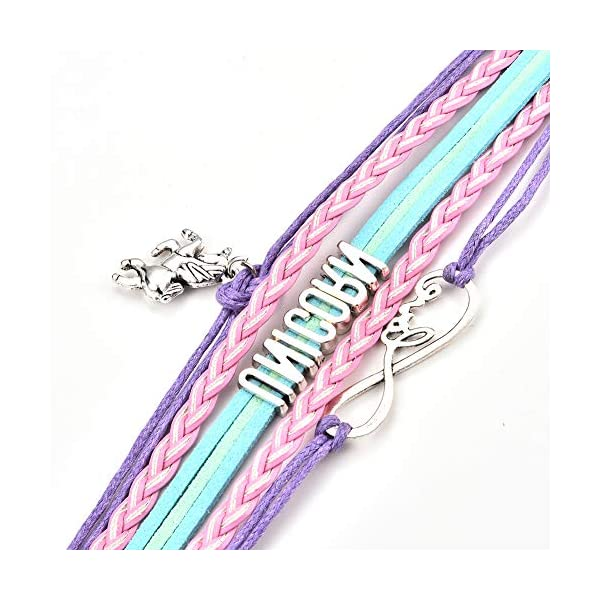 JunXin Cute Unicorn Bracelet Wristband Handmade Rainbow Jewelry Infinity Love Charm Gifts Birthday Gift Best Friends 7