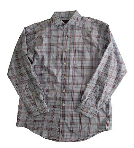 Two Light Elba (Tasso Elba Men's Mulberry Classic/Regular Fit Non-Iron Light Blue Check Dress Shirt Size 141/2 32-33)