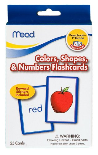 Mead Flashcards, Colors, Shapes, & Numbers, Grades PK-1, 3.62 x 5.25 Inches, 55 Cards (63126)