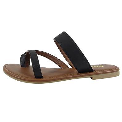 cf0d8da1acc56 SODA Shoes Women Flip Flops Flat Summer Basic Sandals Thongs Deputy (5.5 M,  Black