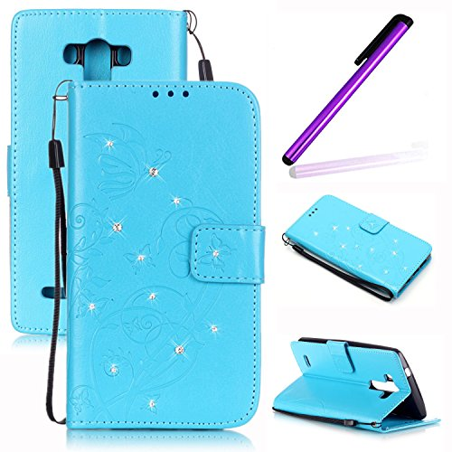 LG G3 Case,G3 Cover,LEECOCO 3D Bling Crystal Rhinestone Card Slots Wallet PU Leather Protective Shell Case Cover for LG G3 Blue (Lg G3 Phone Case With Rhinestones)