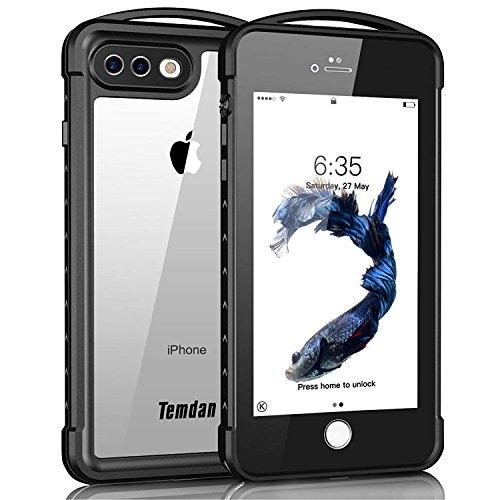 iPhone 7 Plus / 8 Plus Waterproof Case, Temdan Supreme Series Waterproof Case with Carabiner Built in Screen Protector Outdoor Rugged Shockproof Case for iPhone 7 Plus and iPhone 8 Plus(5.5 inch)