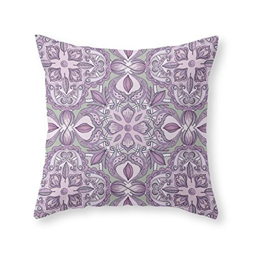 Roses Garden Lavender & Grey - Colored Crayon Floral Pattern 18