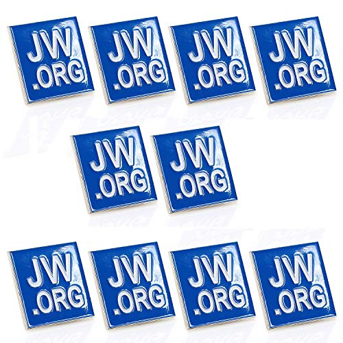 Jehovah Witness - Square Blue Lapel Pin - JW.org Neck Tie Hat Tack Clip Women or Men Suits-Silver Square-10 pcs ()