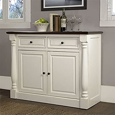 Crosley Furniture CF4206-WH Shelby Buffet - White - Traditional design with rubbed antique finish fits any décor Cabinet front framed with solid wood pilasters Two storage drawers with full extension glides - sideboards-buffets, kitchen-dining-room-furniture, kitchen-dining-room - 510OKbuiHRL. SS400  -