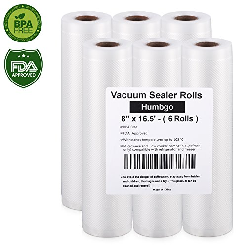 Vacuum Sealer Rolls 6 Pack 8″ x16.5′, Embossed Commercial Grade Bags Rolls for Food Saver and Sous Vide, BPA Free and FDA Approval
