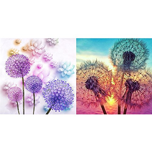 Maxdot 2 Sets 5D Full Diamond Painting with Dandelion Patter