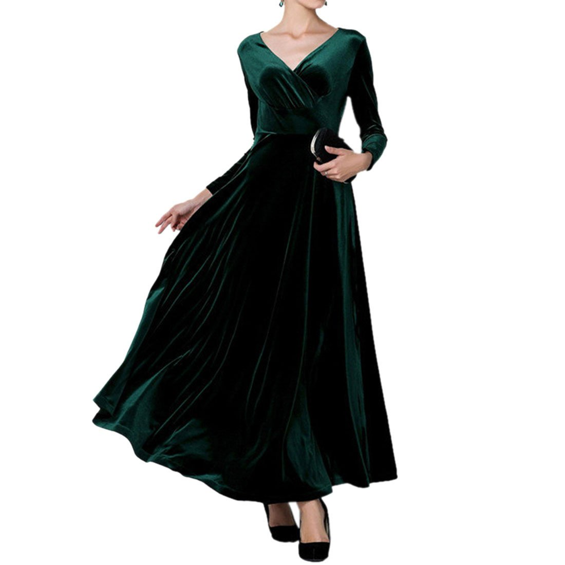 Velvet Elegant Gorgeous Women Long Sleeve High waist Maxi Party Ball Dress S-3XL WINSON