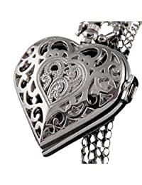 Women's Heart-Shaped Hollow Pocket Watch, SUPPION Necklace Pendant Chain (Silver)