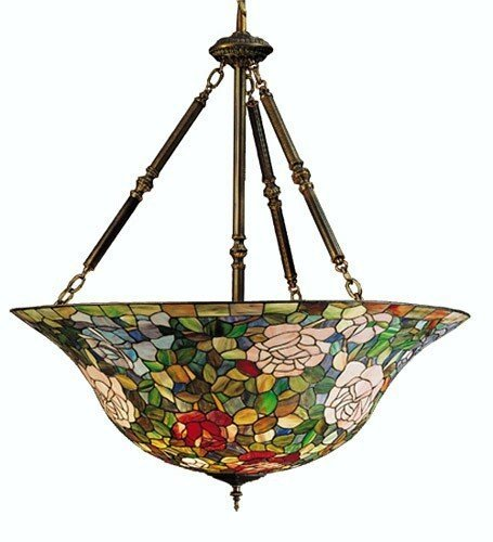 Meyda Tiffany Custom Lighting 26554 Tiffany Rosebush 5-Light Pendant, Mahogany Bronze Finish with Pink, Red, Green Art Glass - Meyda Tiffany Bowl Pendant