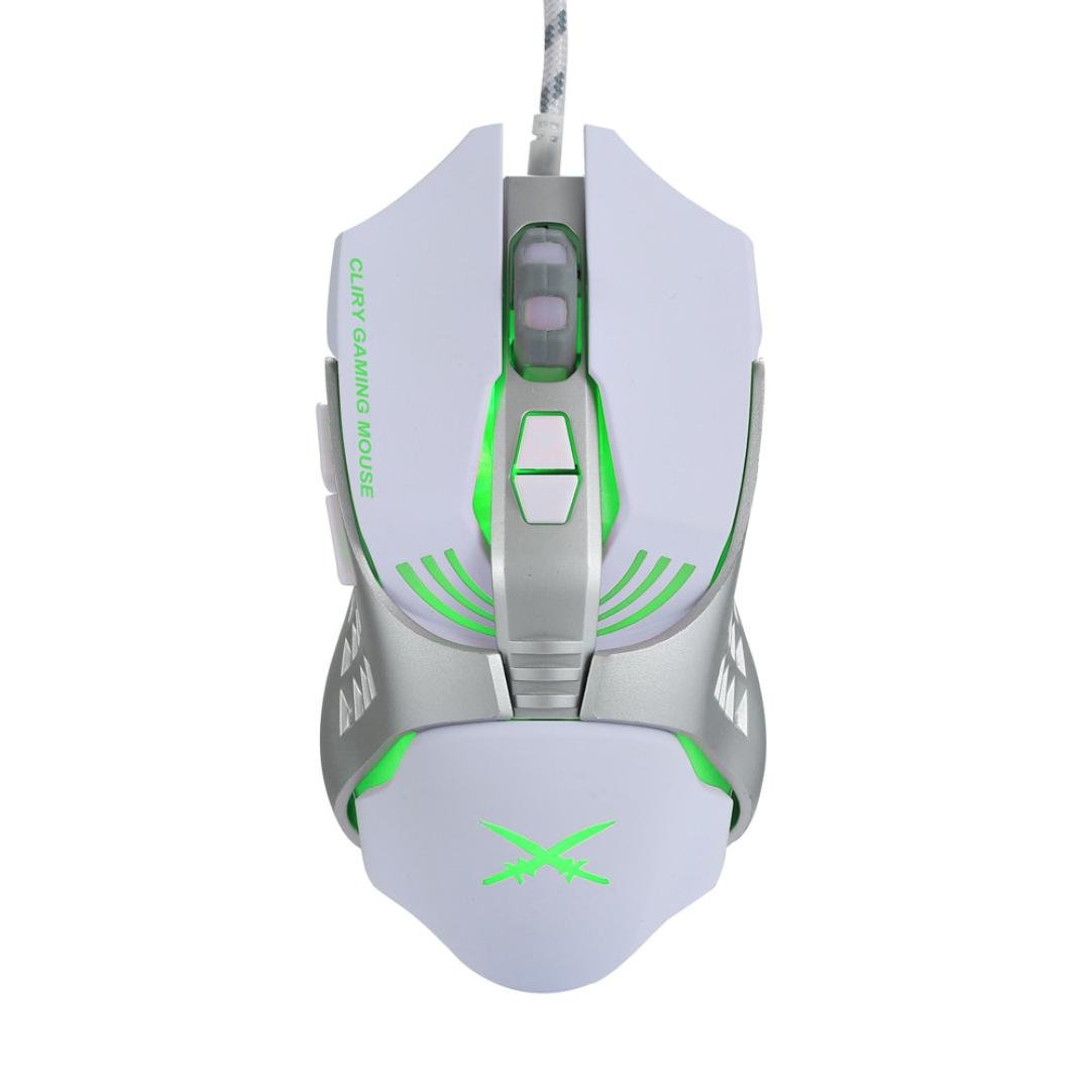 Cywulin X2 USB Wired 4800dpi 7 Buttons Optical Gaming Mouse LED Backlight for PC,Laptop, Notebook, Desktop, Tablet (white)