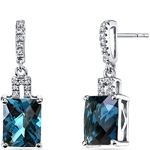 (14K White Gold London Blue Topaz Earrings Radiant Checkerboard Cut 5.00 Carats)