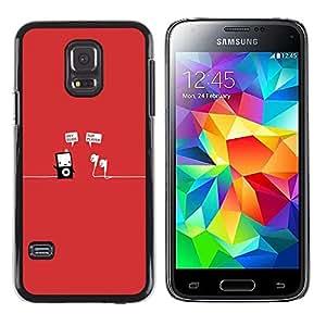 Rojo música mp3 jugador minimalista divertido- Metal de aluminio y de plástico duro Caja del teléfono - Negro - Samsung Galaxy S5 Mini (Not S5), SM-G800