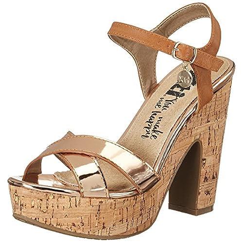 c1bcc5823a571 XTI Nude Mirror Pu Ladies Sandals - Sandales compensées femme low-cost