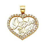TGDJ 14K Yellow Gold I Love You Heart Pendant - Height 19 MM Width 23 MM