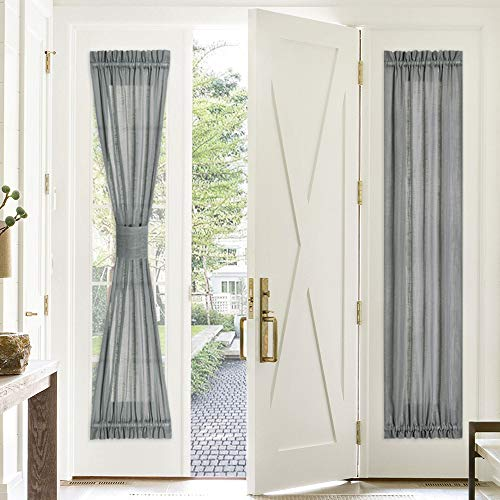 PONY DANCE Sidelight Panel Curtain - 30 Wide by 72 Long Dark Grey Linen Look Sheers Voile Door Window Blind for Metal Door Side Light French Front Entry Door, Single Piece