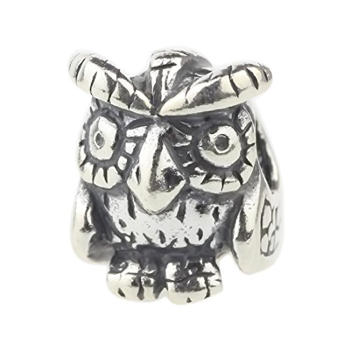 Beads Hunter 925 Sterling Silver Wise Old Owl Charm For European Bracelet