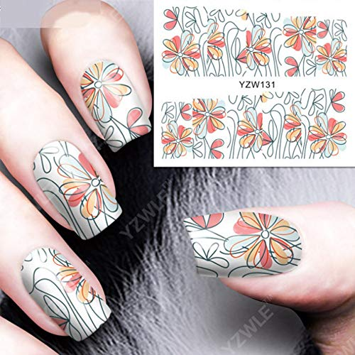 QMM Nail sticker Water Transfer Nail Art Sticker Decal Purple Azalea 3D Print Manicure Tips Diy Nail Foils Decorations