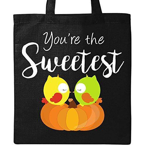 Inktastic - Youre the Sweetest- cute owl couple on pumpkin Tote Bag Black by inktastic