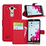 Ultra Slim Flip Bracket Case Cover for LG G3 Vigor / G3 Mini / G3 Beat / G3s D725 D722 - Premium Soft PU Leather [ Wallet ] Case Cover for LG G3 Vigor / G3 Mini / G3 Beat / G3s D725 D722 (PU - Red)