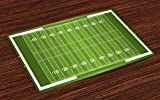 Lunarable Football Place Mats Set of 4, Sports Field in Green Gridiron Yard Competitive Games College Teamwork Superbowl, Washable Fabric Placemats for Dining Room Kitchen Table Decor, Green White