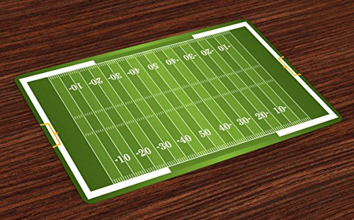 Lunarable Football Place Mats Set of 4, Sports Field in Green Gridiron Yard Competitive Games College Teamwork Superbowl, Washable Fabric Placemats for Dining Room Kitchen Table Decor, Green White (Team Football Mat)
