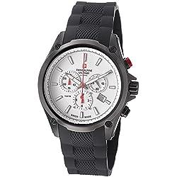Swiss Alpine Military Red Force Men's White Dial Swiss Quartz Chronograph Black PVD Watch 1635.9872 SAM