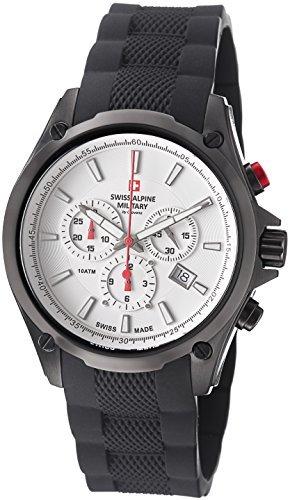 Swiss Alpine Military Red Force Men's White Dial Swiss Quartz Chronograph Black PVD Watch 1635.9872 SAM - Watch Pvd White Dial