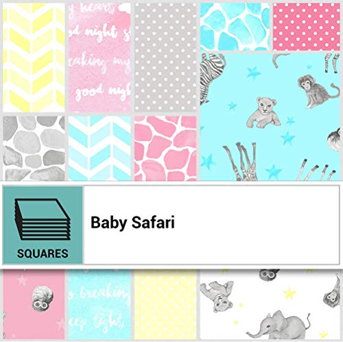 (Baby Safari Layer Cake, 42-10 inch Precut Fabric Quilt Squares by Ellen Crimi-Trent for Clothworks)