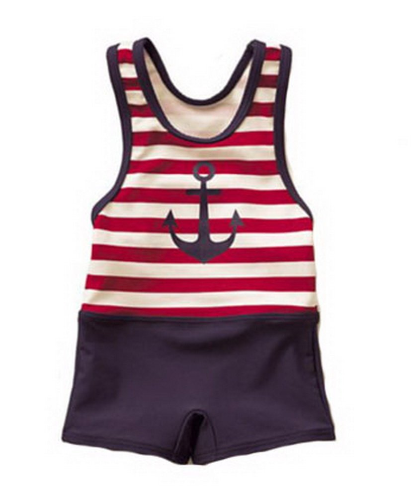 Red Striped Body Suit Sail Baby Boy Swimsuit, Under 2 Years Old, 2T