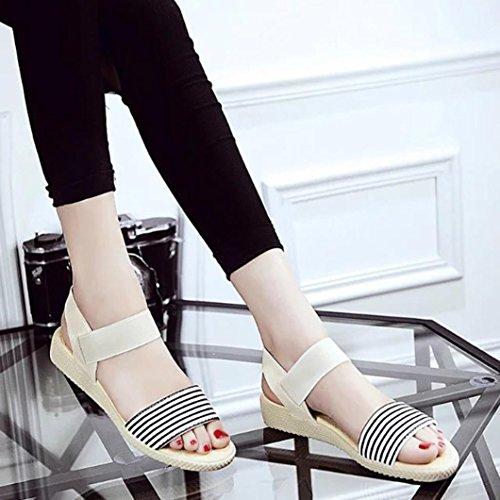 Ouneed ® Las mujeres zapatos de verano Bohemia sandalias ocio trabajo playa a rayas Beige