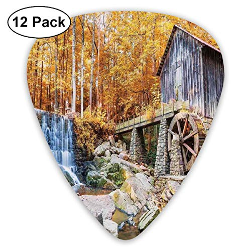 Guitar Picks 12-Pack,Fall Season Image Of Historic Water Mill And Waterfall Outdoor Nature Art
