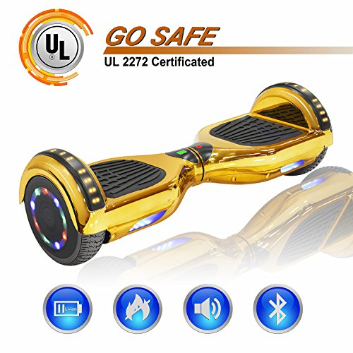 NHT 6.5' Chrome Hoverboard Two-Wheel Electric Smart Self Balancing Scooterwith Bluetooth Speaker & Sidelights - UL2272 Certified, Chrome Gold