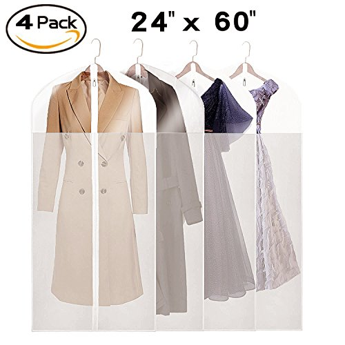 Garment Bags Storage - La Saveur Garment bags for Storage, 4 Pack 60 inch Extra Long Dust Proof Suit bags for Gown, Dresses