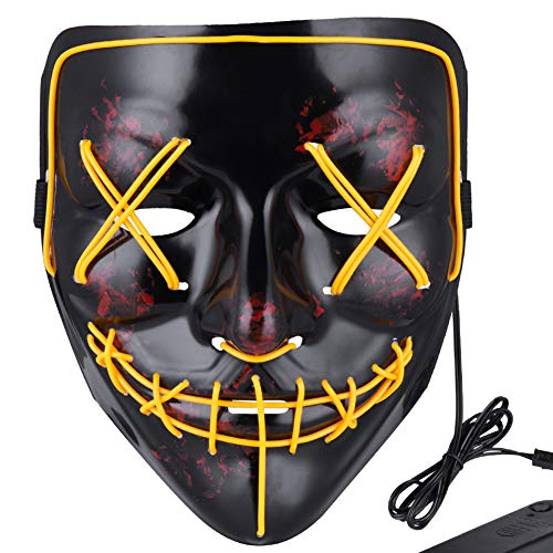 Anroll Halloween Mask LED Light Up Mask for Festival Cosplay Halloween Costume Yellow