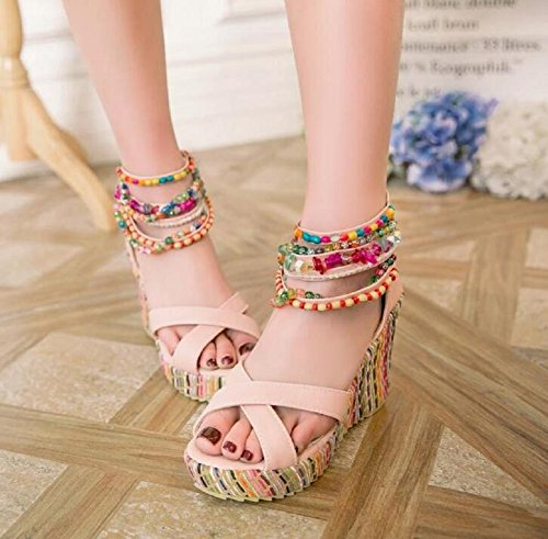 Heel High Pink Ankle Summer Sandals Strap Wedges Women's Bohemian Lazutom Platform Casual Beads F4qORH