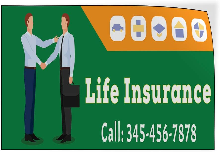 Custom Door Decals Vinyl Stickers Multiple Sizes Life Insurance Call Phone Number Green Business Life Insurance Outdoor Luggage /& Bumper Stickers for Cars Green 69X46Inches 1 Sticker