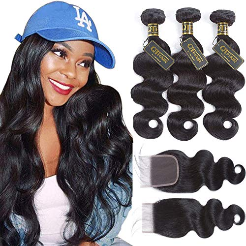 QTHAIR 10A Brazilian Body Wave with Closure(16 18 20 with 14) 100% Unprocessed Brazilian Virgin Body Wave Hair Weave with 4x4 Swiss Lace Closure