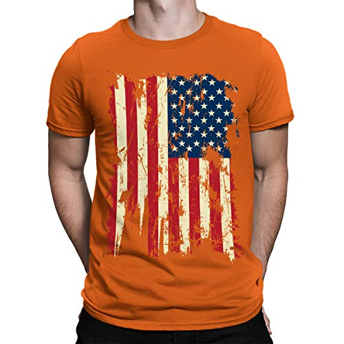 SpiritForged Apparel Vintage Distressed USA Flag Men's T-Shirt, Orange Large ()