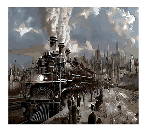 QIANDONG1 Train Travel DIY Painting by Numbers Abstract Railway Station Oil Painting On Canvas Cuadros Decoracion Acrylic Wall Art,40x50cm,Framed