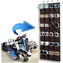 Zedela Over the Door Shoe Organizer with 24 Reinforced Pockets. Organize your shoes with this shoe rack over the door organizer and save space. Hang on standard doors with 4 steel over the door hooks
