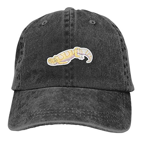 - Vintage Washed Distressed Cotton Baseball Caps Albino Leopard Gecko Reptile Dad Hat Black