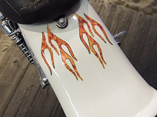 No. 28 Gold Foil Edition - Old School Flame decals for MotorCycle tank, fenders, helmet. 28 pc. set