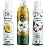 OneStopPaleoShop - Paleo Keto Cooking Sprays Bundle (3 Pack Variety) - Chosen Foods Avocado Oil Spray, Chosen Foods Coconut Oil Spray, 4th & Heart Ghee Oil Spray