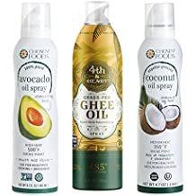 OneStopPaleoShop - Paleo Keto Cooking Sprays Bundle (3 Pack Variety) - Chosen Foods Avocado Oil Spray, Chosen Foods Coconut Oil Spray, 4th & Heart Ghee Oil Spray