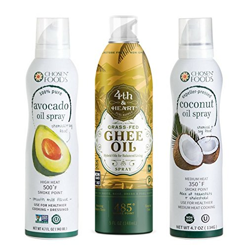 OneStopPaleoShop - Paleo Keto Cooking Sprays Bundle (3 Pack Variety) - Chosen Foods Avocado Oil Spray, Chosen Foods Coconut Oil Spray, 4th & Heart Ghee Oil Spray by OneStopPaleoShop