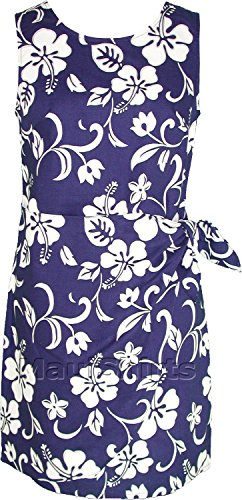 RJC Women's Classic Hibiscus Hawaiian Mock Wrap Sarong Dress Royal Blue Medium