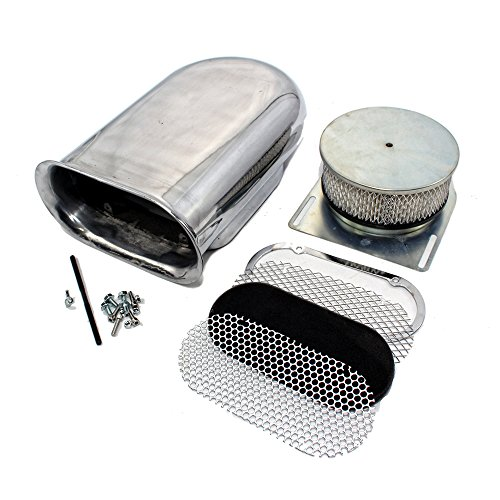 cts A8002 Polished Aluminum Hilborn Style Smooth Hood Air Scoop Kit - Single 4 BBL Carb (Style Hood Scoop)