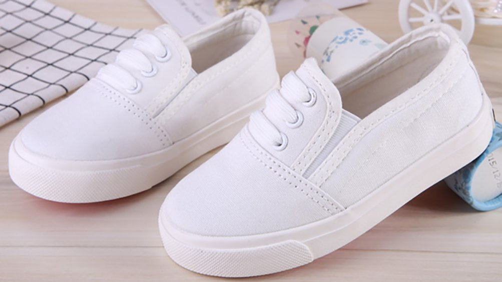 VECJUNIA Boy's Girl's Slip-On Cozy Basic Fashion Slip-Resistant Canvas Shoes (White, 13.5 M US Little Kid) by VECJUNIA (Image #3)