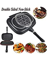 New Double-sided Portable BBQ Grill Pan Nonstick Omelette Pan Flip Pan Square Jumbo Frying Pan Grill Cookware for Indoor and Outdoor Cooked Chicken, Fish